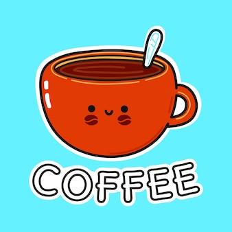 Personagens engraçados fofa feliz uma xícara de café