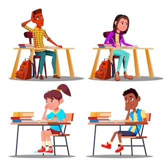 Personagens entediados alunos durante a aula