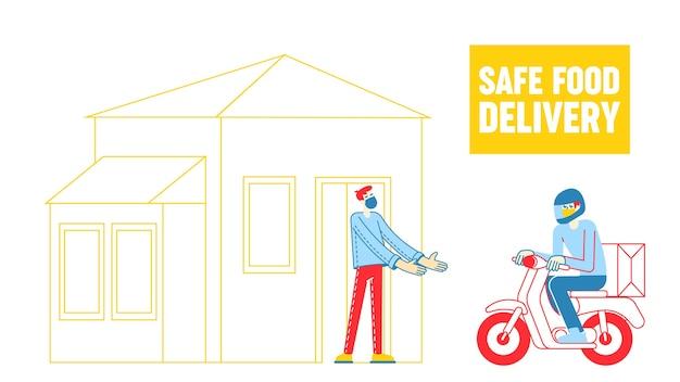 Personagens. entrega segura de alimentos