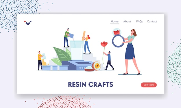 Personagens envolvem modelo de página inicial de hobby de resina. pessoas minúsculas com equipamentos enormes para fazer joias e decorações artesanais, anéis, pingentes. oficina arte criativa feito à mão. ilustração em vetor de desenho animado