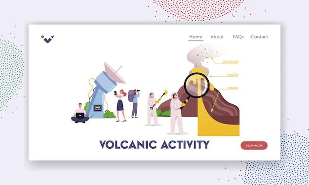 Personagens estudando modelo de página inicial de erupção do vulcão. cientistas param na seção transversal do vulcão que faz erupção de lava e gás na atmosfera com nomes de peças. ilustração em vetor desenho animado