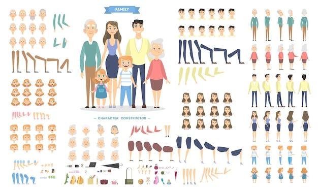 Personagens familiares com poses e emoções.