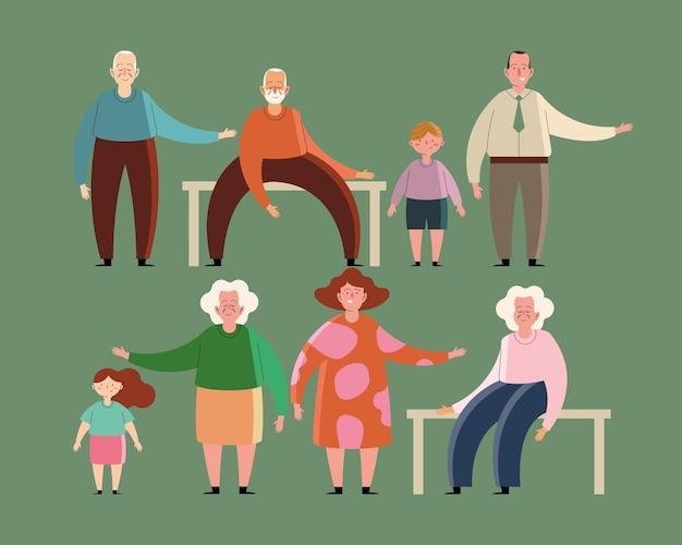 Personagens familiares de avós e filhos
