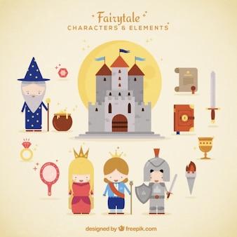 Personagens fantásticos bonitos e elementos