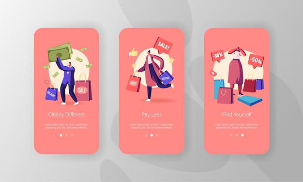 Personagens fazendo compras conjunto de tela a bordo da página do aplicativo móvel.
