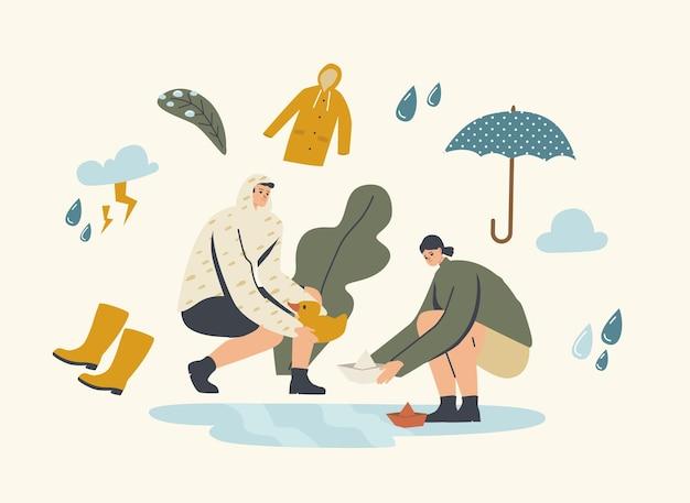 Personagens felizes brincando nas poças em um dia de chuva e chuva