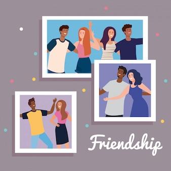 Personagens felizes, definir fotos de jovens felizes, emoção de amizade, alegre rindo de felicidade