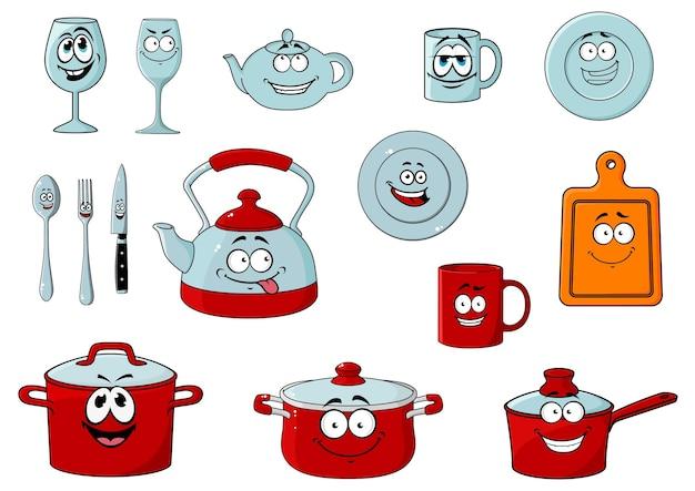 Personagens felizes e sorridentes de desenhos animados em vidro e utensílios de cozinha