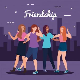 Personagens felizes, grupo de mulheres jovens, emoção de amizade, alegre rindo de felicidade na paisagem urbana