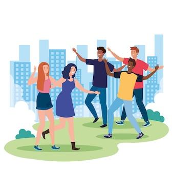 Personagens felizes, jovens, emoção de amizade, alegre rindo de felicidade na paisagem urbana