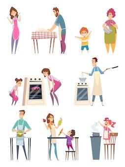 Personagens felizes, pais, filhos, preparando comida, padaria, profissional, chef, cozinha