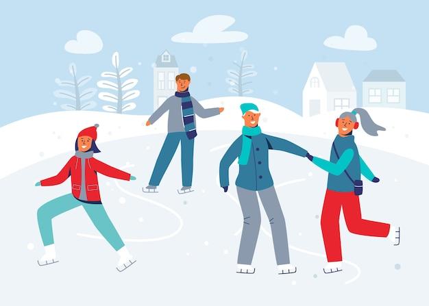 Personagens felizes patinando na pista de gelo. temporada de inverno pessoas patinadores de gelo. homem alegre e mulher em roupas de inverno na paisagem de neve.