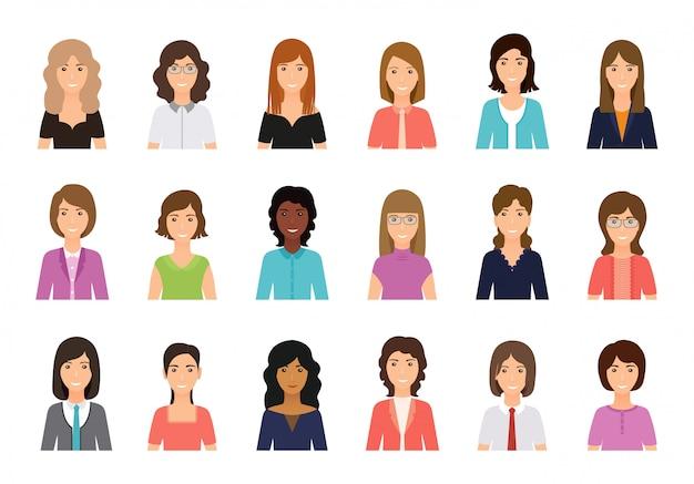 Personagens femininas de avatar, pessoas. ícone de mulheres de negócios.
