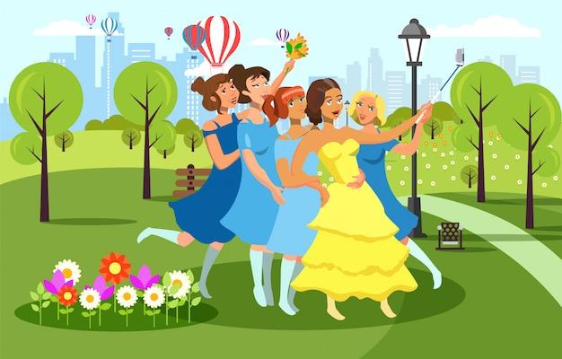 Personagens femininas de desenhos animados plana em vestidos de noite.