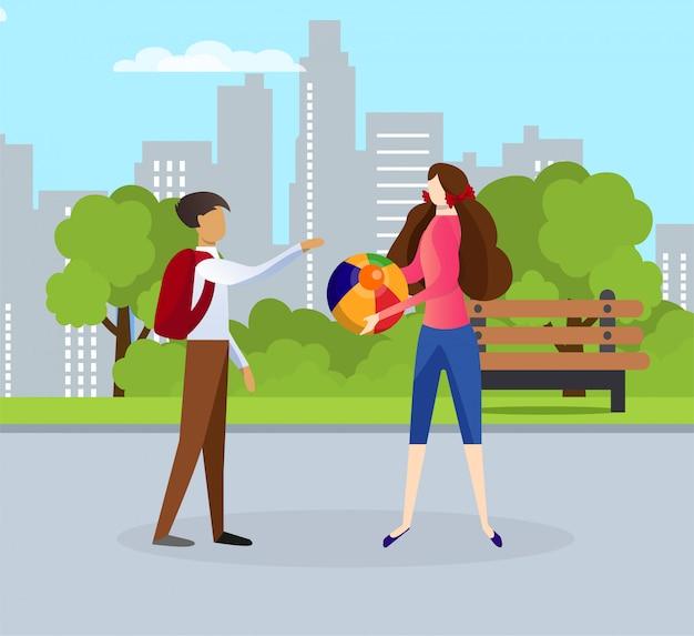 Personagens femininas e masculinas de crianças falando na rua