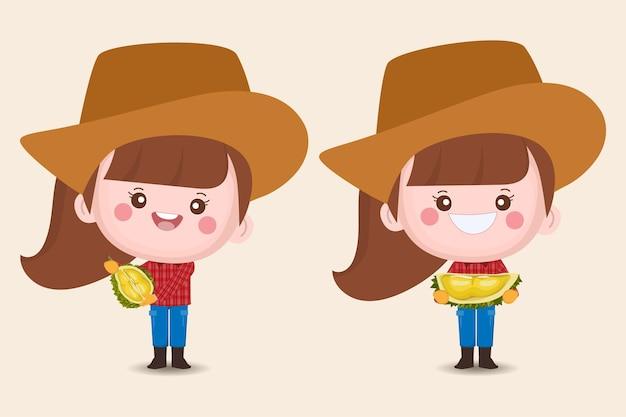 Personagens femininas fofas de agricultores com frutas durian