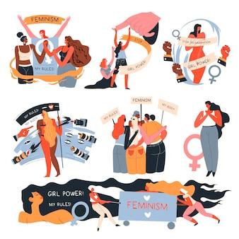 Personagens femininas lutando pela igualdade de direitos, contra a discriminação