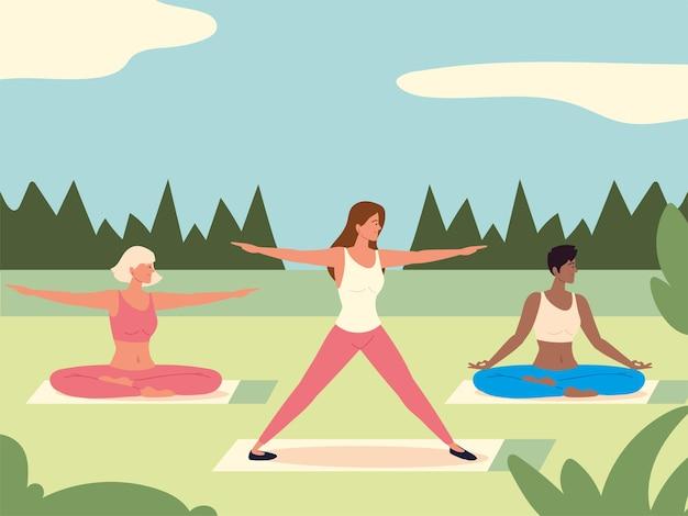 Personagens femininas praticando ioga na natureza