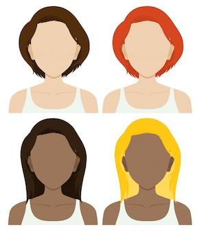 Personagens femininas sem rosto com cabelos longos e curtos