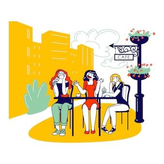 Personagens femininas sentadas em um café ao ar livre, bebendo café