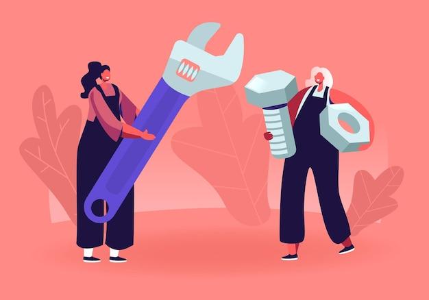 Personagens femininos com ferramentas. pequenas garotas de macacão segurando uma enorme chave inglesa e uma porca. ilustração plana dos desenhos animados