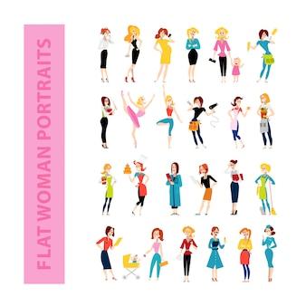 Personagens femininos. ilustração em vetor plana.