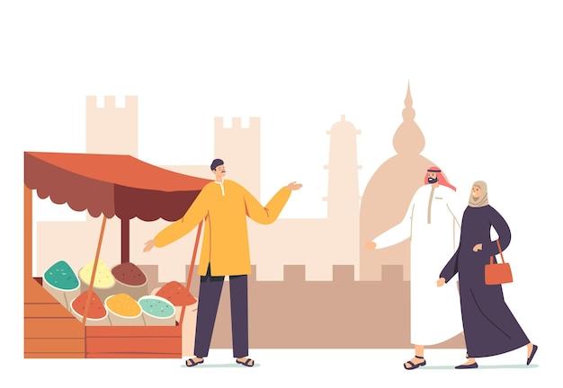 Personagens femininos masculinos locais em trajes árabes visitam o mercado árabe caminhando na barraca com um vendedor oferecendo especiarias