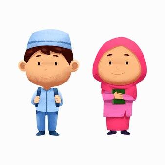 Personagens fofinhos aquarela crianças islâmicas de volta às aulas