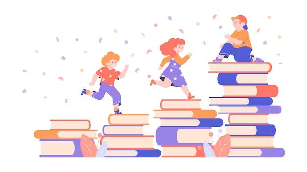 Personagens fofinhos crianças e pilhas de livros. amigos aprendem a ler juntos. meninos e uma menina em idade pré-escolar. ilustração plana.