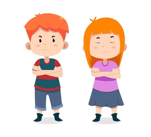 Personagens fofinhos crianças pedir desculpas