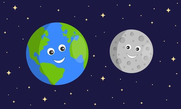 Personagens fofinhos da terra e da lua em um fundo escuro e estrelado