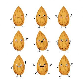 Personagens fofinhos de amêndoa com ilustração de emoções diferentes. mascotes malucos engraçados