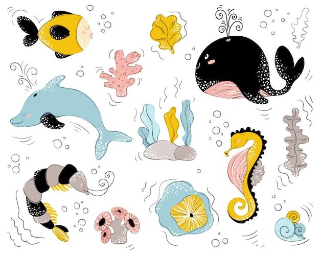 Personagens fofinhos de animais do mar em branco