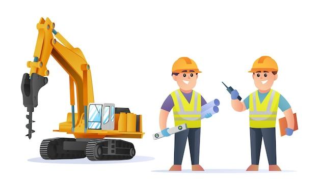 Personagens fofinhos de engenheiros de construção com ilustração de escavadeira