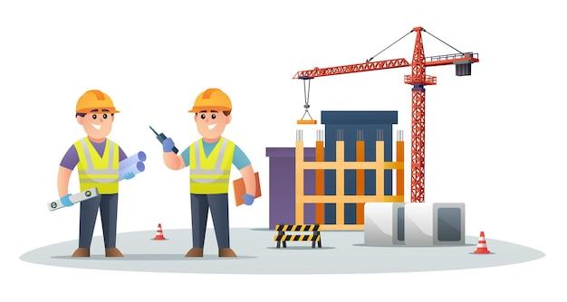 Personagens fofinhos de engenheiros de construção no canteiro de obras com ilustração de guindaste de torre