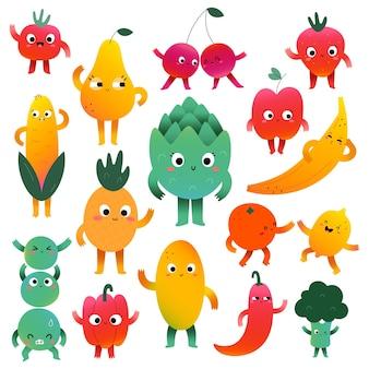 Personagens fofinhos de frutas e vegetais com várias expressões faciais