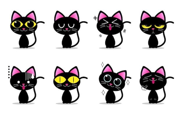 Personagens fofinhos de gato preto com emoções diferentes