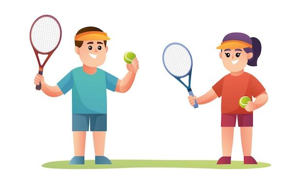 Personagens fofinhos de meninos e meninas jogadores de tênis