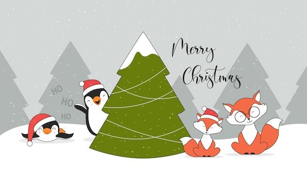 Personagens fofinhos de natal, pinguins, raposas e árvore de natal