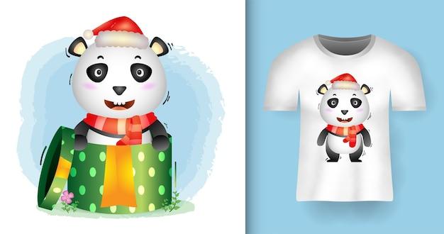 Personagens fofinhos de panda natal usando chapéu de papai noel e lenço na caixa de presente com design de camiseta