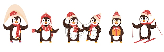 Personagens fofinhos de pinguins usando chapéu de lã e lenço em diferentes poses.