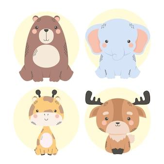 Personagens fofinhos de quadrinhos de quatro animais