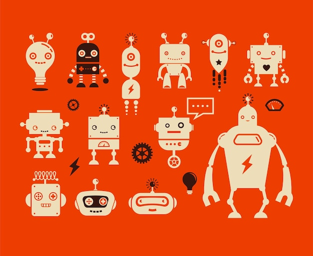 Personagens fofinhos de robôs