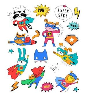 Personagens fofinhos de super-heróis desenhados à mão