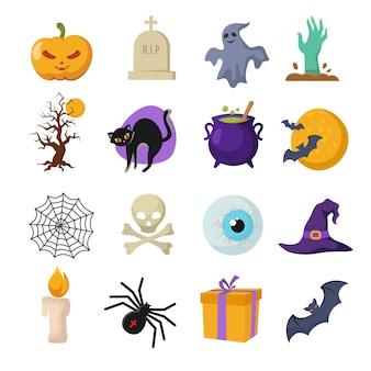 Personagens fofinhos de vetor de desenhos animados de halloween