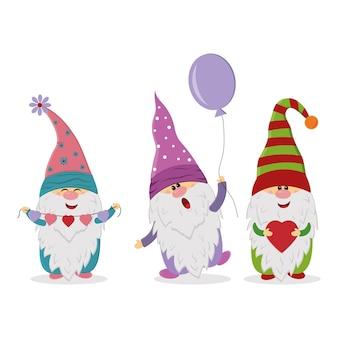 Personagens fofinhos do gnome, ilustração vetorial isolada
