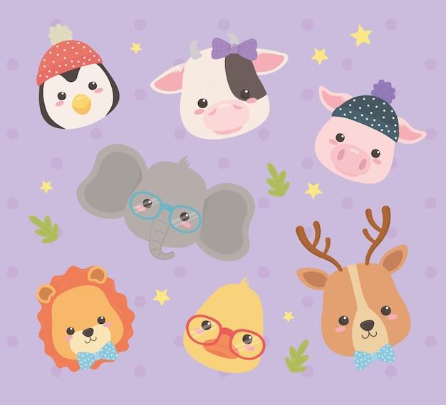Personagens fofinhos e pequenos animais