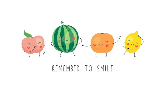 Personagens fofinhos melancia, limão, pêssego, laranja.