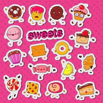 Personagens fofos de doces de comida doce rabiscam com biscoito