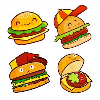 Personagens fofos de hambúrguer kawaii sorrindo alegremente